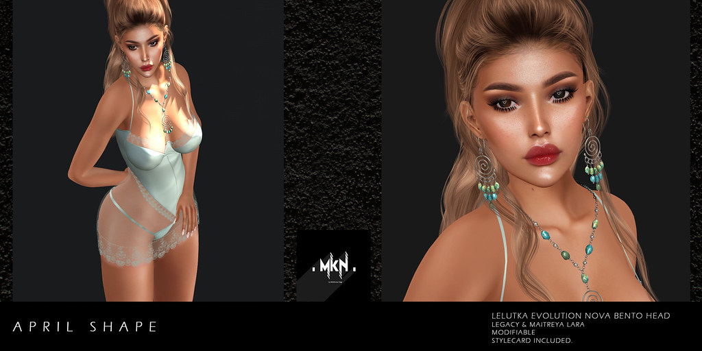 . MKN . April Shape (Lelutka Evolution Nova/Legacy/Maitreya) Exclusive at Swank, March 2020