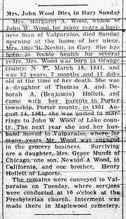 2020-03-05. Margaret Wood obit, Gazette, 11-9-1923