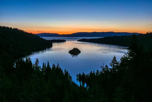 lake water sunrise laketahoe emeraldbay california unitedstates sky contrast