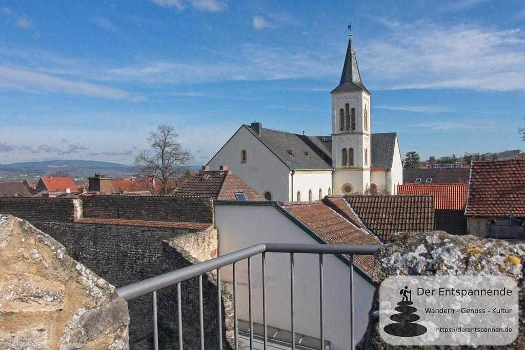Blick von Wehrmauer auf Aula Regia und Saalkirche (Kaiserpfalz Ingelheim)