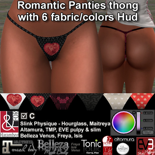 Romantic Panties thong with 6 fabric-colors HUD