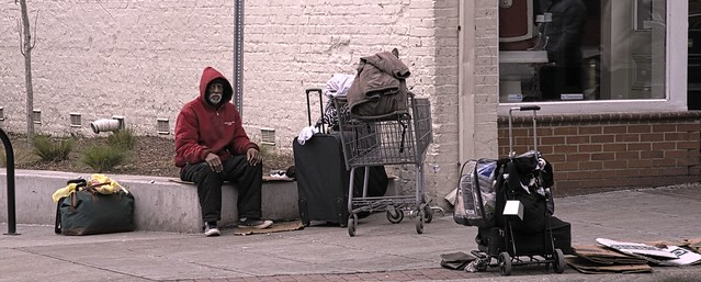 Homeless in downtown Raleigh, NC.