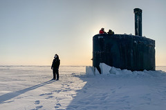 USS Toledo (SSN 769) arrives at Ice Camp Seadragon on the Arctic Ocean, March 4. (U.S. Navy/MC1 Michael B. Zingaro)