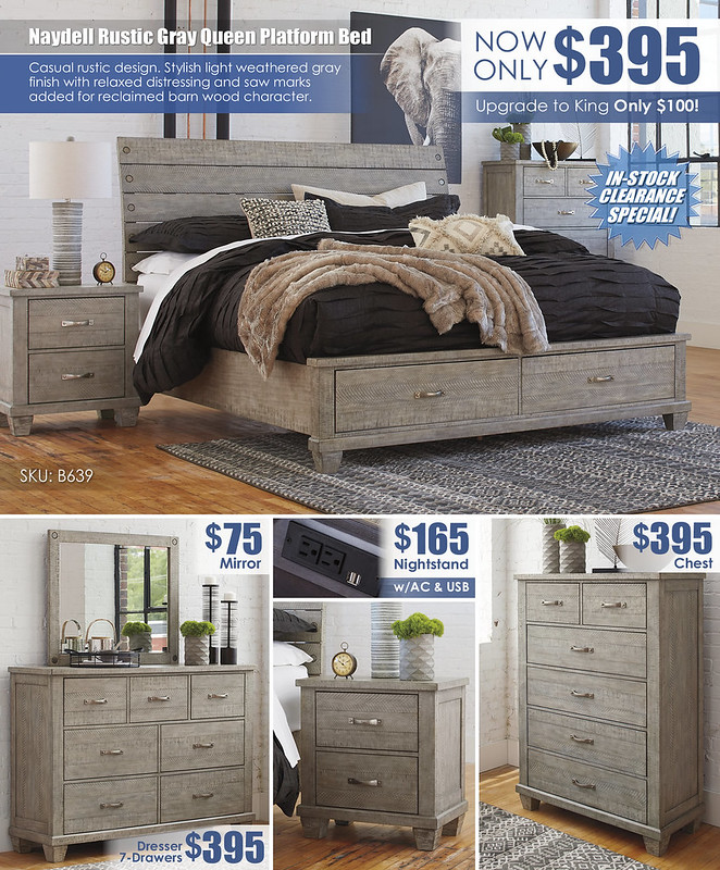 Naydell Rustic Gray Bed Clearance Special_Layout_B639