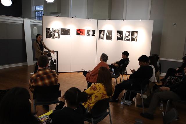 Francesca explains a detail to audience