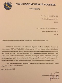 La lettera di nomina a Commissario cittadino