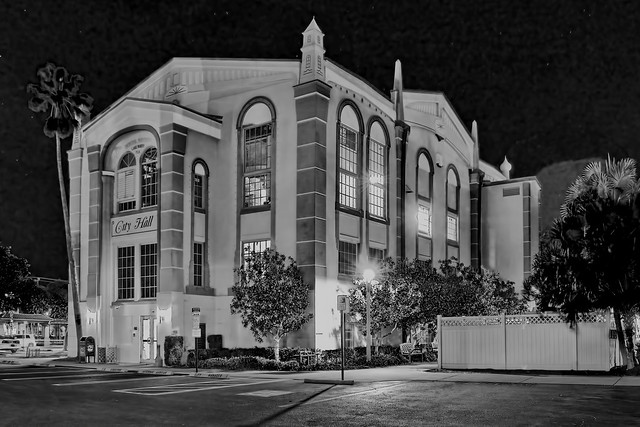 Lake Worth City Hall, 7 N Dixie Hwy, Lake Worth, Florida, USA / Built: 1933-1935 / Dedicated: November 28, 1935 / Architect: G. Sherman Childs / Floors 3 + Basement / Roof: Barrel-Vaulted with Ornamented Parapet and Spires