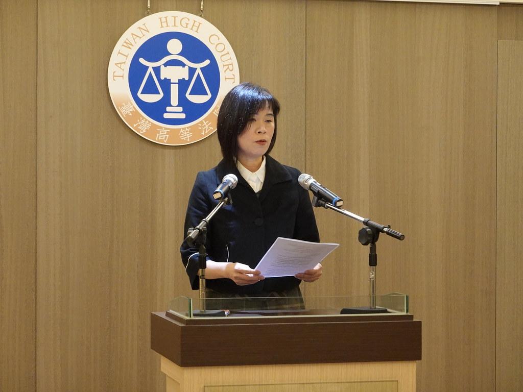 高等法院民事庭發言人陶亞琴出面說明本案判決。孫文臨攝