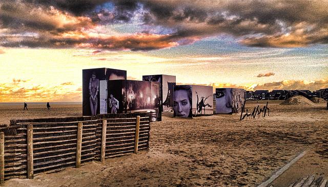 Art sur la plage de Deauville.