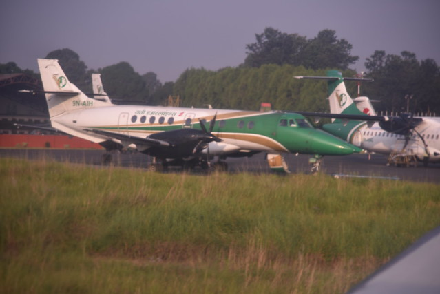 A BaE Jetstream 41 aircraft of Yeti Airlines as we await takeoff on the Himalayan scenic flight