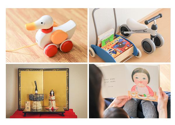ご自宅で家族写真 おもちゃ 絵本 お雛さま