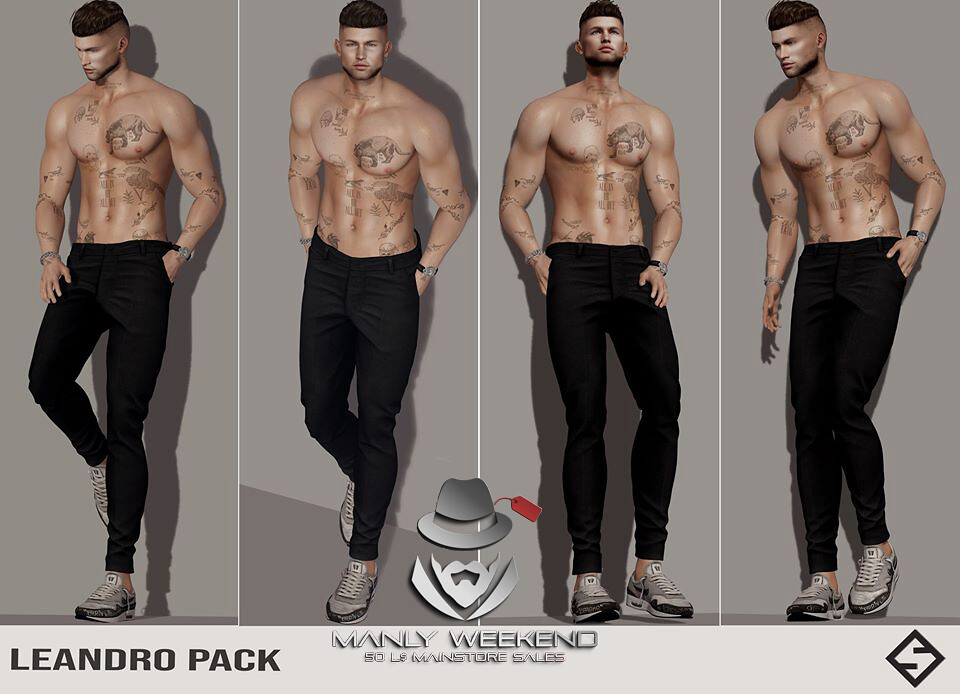 🔥 Hey guys now at Manly Weekend Leandro Pack for only 50L$ 🔥  TP – http://maps.secondlife.com/secondlife/Griffindor/154/223/1894