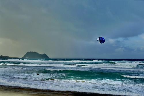 Temporal de hoy a la tarde en la playa de Zarautz