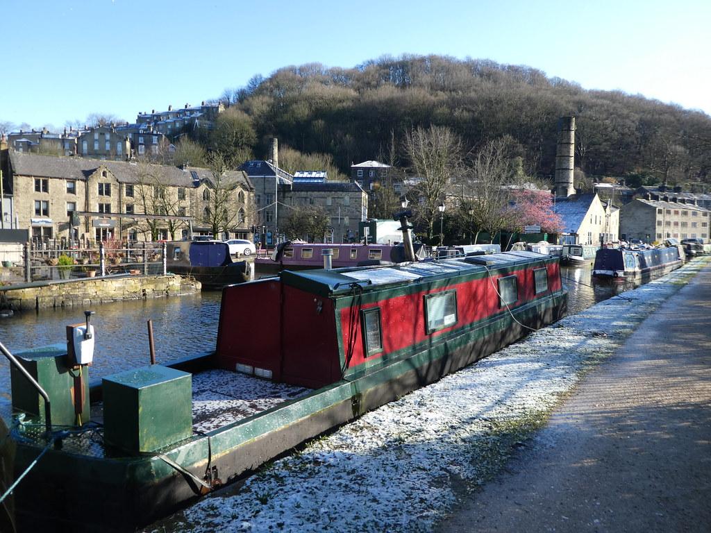 Canal boats in Hebden Bridge