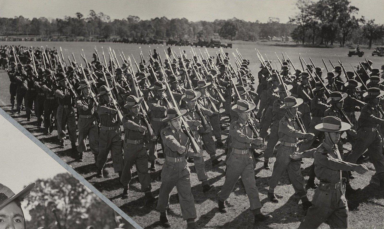 29. Парад войск в Маймьо. Колонна бирманских солдат