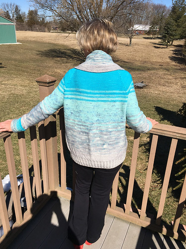 Natalie knit her Comfort Fade Cardi using Koigu Kersti with the Blue pack.