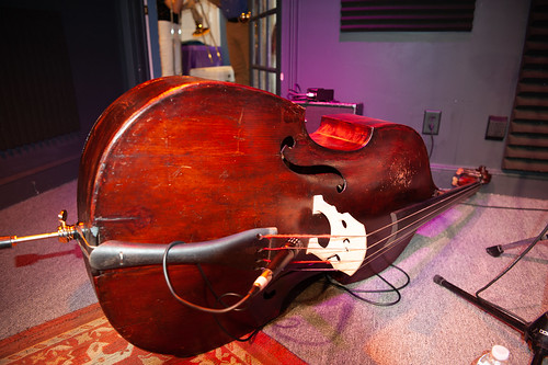 upright Bass in the studio - March 5, 2020. Photo by Michael E. McAndrew.