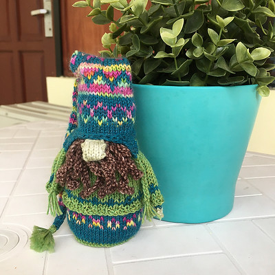 Sandi finished her Gnome is Where You Hang Your Hat from the Sarah Schira's Mystery Gnome KAL 3