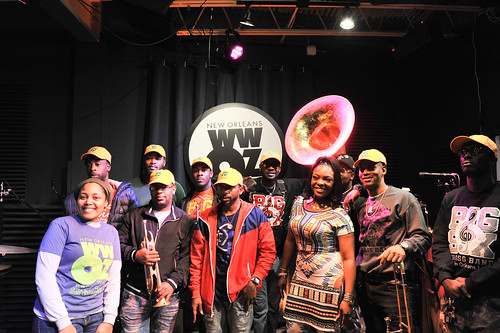 KaTrina Griffin with Big 6 Brass Band at WWOZ - March 5, 2020. Photo by Michael E. McAndrew.
