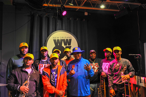 Action Jackson with Big 6 Brass Band at WWOZ - March 5, 2020. Photo by Michael E. McAndrew.
