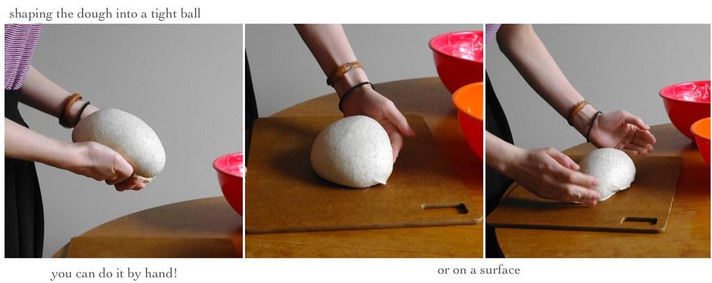 shaping dough into a tight ball