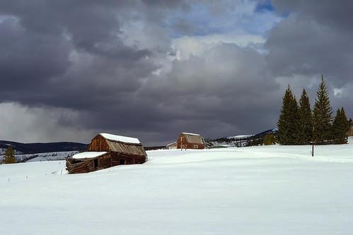 brokenbarn devilsthumbranch snow landscape colorado winter