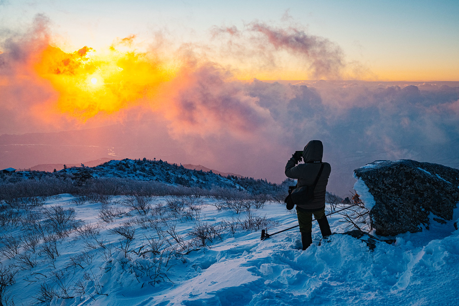 Mountaineer Photographic the Sunrise on Seoraksan