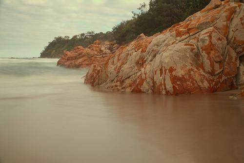 australia queensland coolum beach sea ocean water rocks headland seascape longexposure timeexposure view