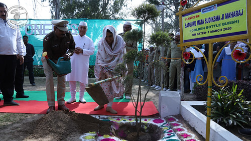 Her Holiness planting a tree