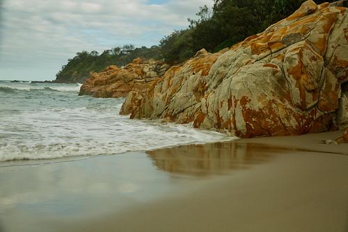 australia queensland coolum rocks sea ocean water coast view trees headland