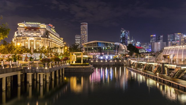 Fullerton Hotel and Landmarks by Marina Bay