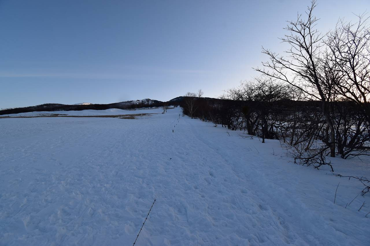 雪の四阿山登山道