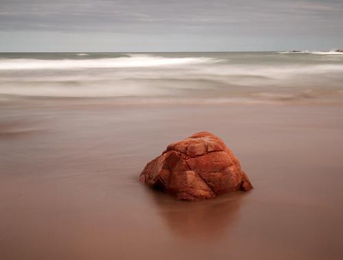 australia queensland coolum beach rock sea ocean water calm sky timeexposure longexposure coast view coastline horizon seascape