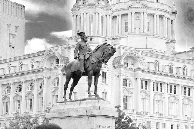 The statue of King Edward VII on a horse on the Pier Head, Liverpool.