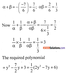KSEEB Solutions for Class 10 Maths Chapter 9 Polynomials Additional Questions 11