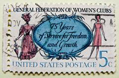 *8th March International Women's Day IWD* great stamp USA 5c (General Federation of Women's Club, 75 Jahre Vereinigte Frauen-Clubs, Fédération générale du Club des femmes, Club de la Federación General de Mujeres) United States postes timbre