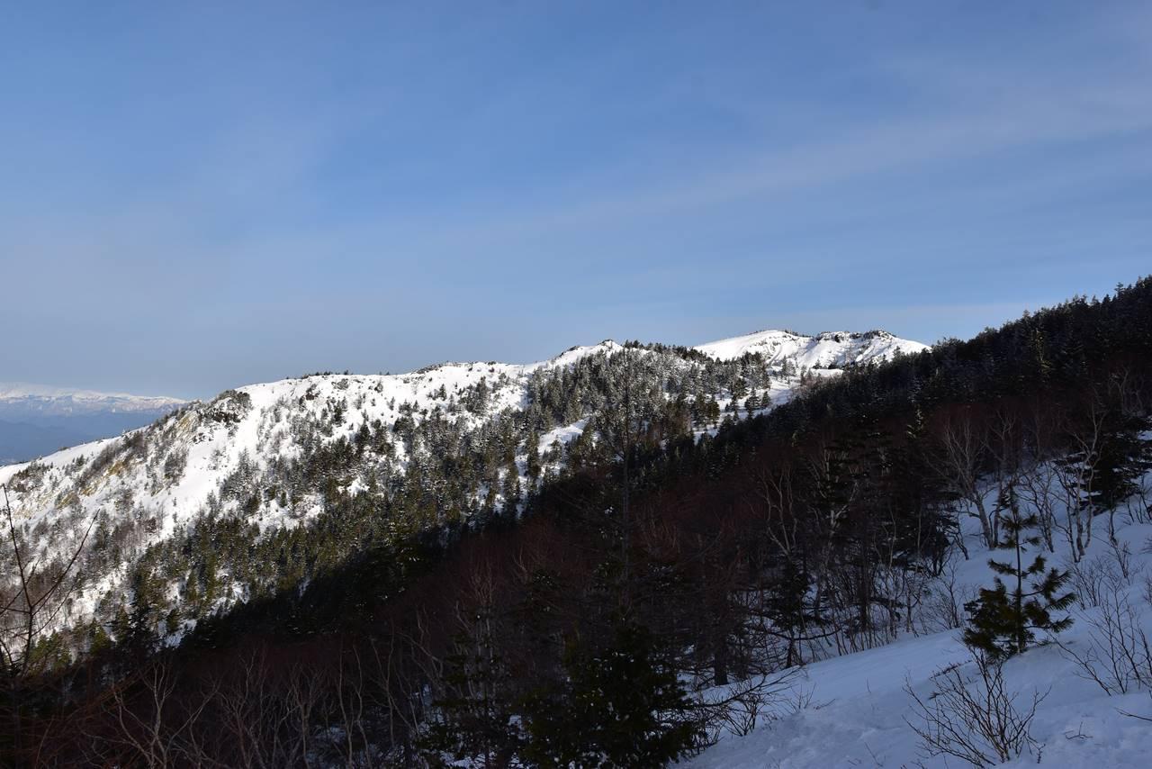 四阿山登山道から眺める根子岳