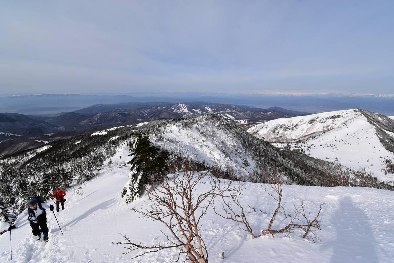 冬の四阿山~根子岳の展望