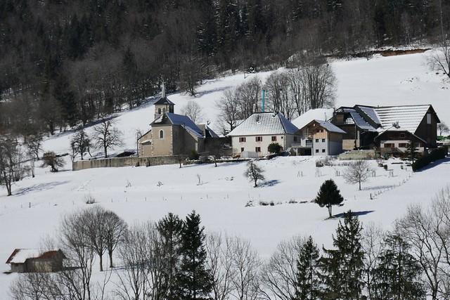L'église de Leschaux, massif des Bauges, Haute Savoie, Auvergne-Rhône-Alpes, France.