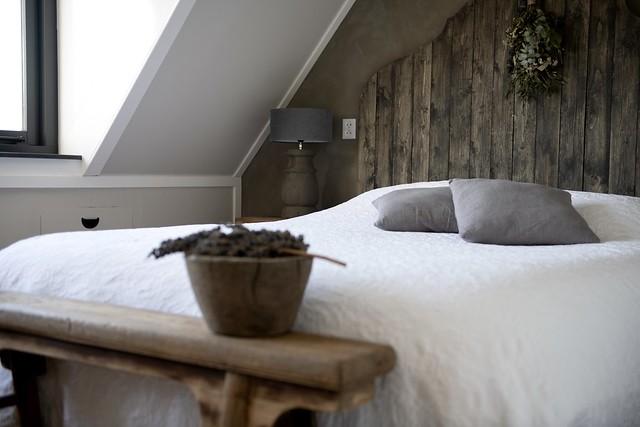 Hoofdbord hout slaapkamer landelijk sober