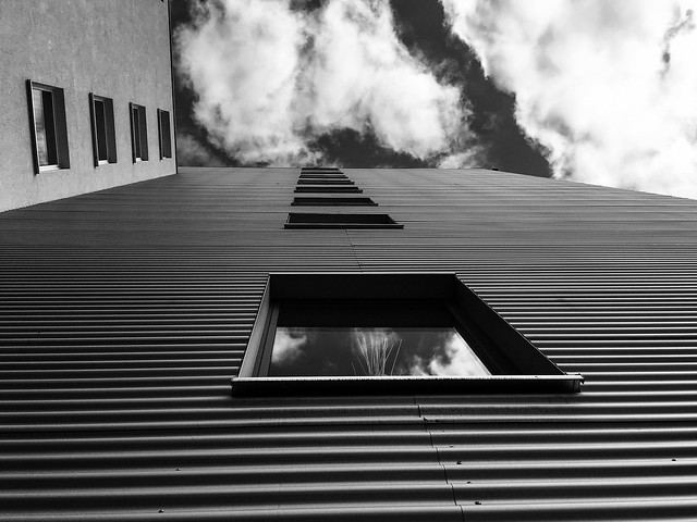 Corrugated tin and sky