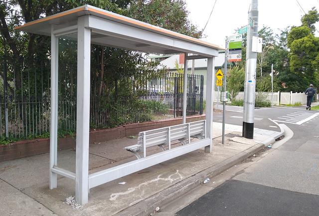 Broken tram/bus shelter - 8/3/2020