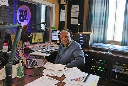 Charlie B Charles Burchell on the air - March 6, 2020. Photo by Bill Sasser.