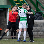 Huntly Assistant Manager confronts Lewis MacKinnon (5) after the players initial challenge which resulted in Nathan Meres being red carded