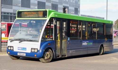 YN56 AHY 'notts+derby' No. 1180. Optare M920 Solo on Dennis Basford's railsroadsrunways.blogspot.co.uk'