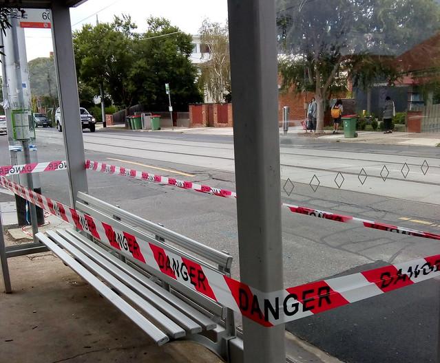 Broken tram/bus shelter - 22/2/2020