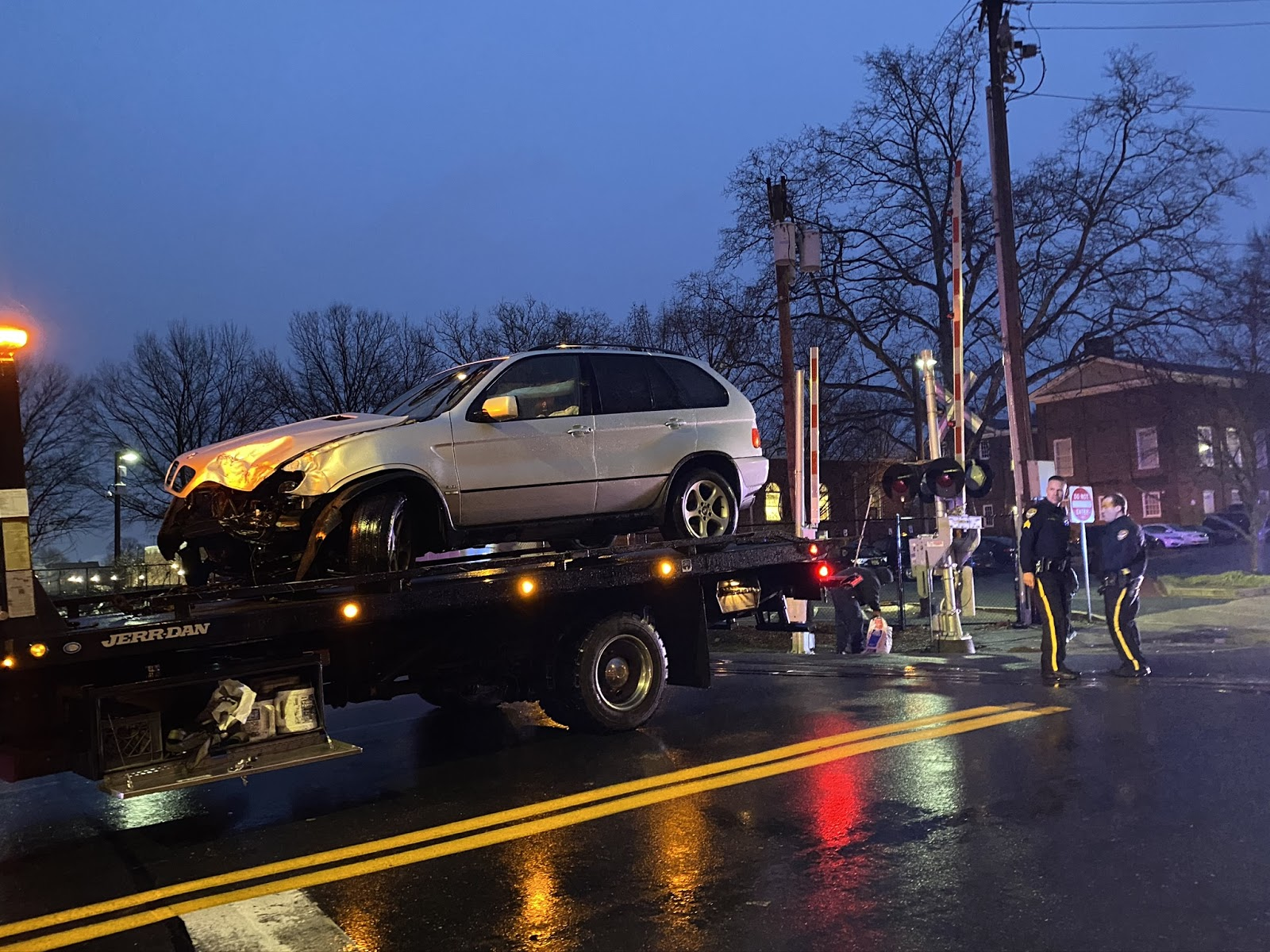 Train hits car on North College Avenue