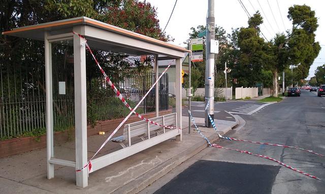 Broken tram/bus shelter - 8/2/2020