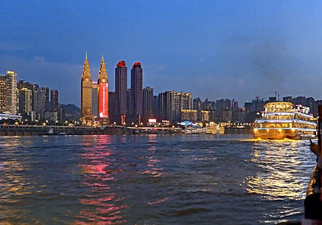 China 2015. Chongqing. Night cruise on the Yang Tse River.