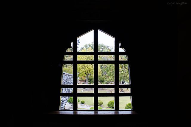 Kato (flower-style) window on the second floor of the Matsumoto Castle (松本城, Matsumoto-jō), Matsumoto City, Nagano, Japan